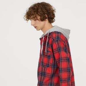Men's Red Hooded Flannel Shirt✅